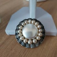 Vintage Retro Dark Silver Toned Statement Round Faux Pearl Beaded Pin Brooch