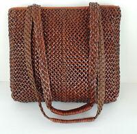 Talbots Woven Leather Cross Body Handbag Satchel Double Strap Handles