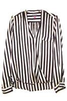 Vince Camuto Striped Long Sleeve Blouse Women's Size Medium Black White