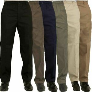 Mens Rugby Trousers Adults Full Length Elasticated Waist Casual Wear Smart Pants