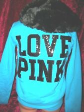 Victorias Secret Pink Lim Ed Fashion Show Sequins Bling Fur Hoodie Coat NWT S