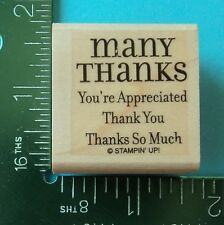 Stampin Up MANY THANKS Saying Rubber Stamp You're Appreciated Thanks So Much