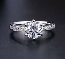 1 CT Diamond Engagement Ring 14kt White Gold Ring Size 7 Gift Box Certification