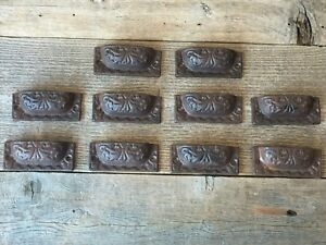 10 CAST IRON BROWN PULLS DRAWER CABINET BIN HANDLES RUSTIC BARN DRESSER KNOBS