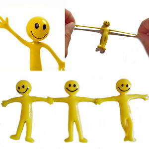 100 Smiley Stretchy Men Sticky Yellow Stretchy Men Party Bag Fillers Kids Gifts
