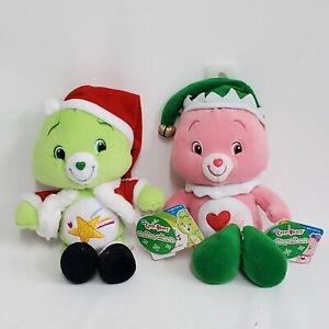 "2007 Care Bears Oopsy & Love a Lot Bear Christmas Santa Hat Plush 9"" NWT"