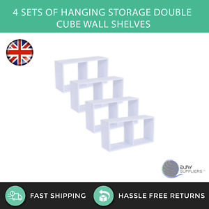 4 Sets of Hanging Storage Double Cube Wall Shelves