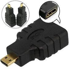 2x MICRO HDMI Tipo D Maschio a HDMI TIPO A FEMMINA ADATTATORE CONVERTITORE DA CONNETTORE