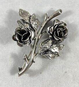 Vintage Danecraft Sterling Silver Rose Brooch