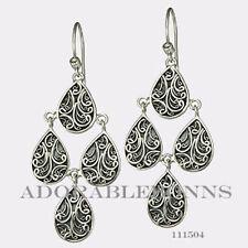 Authentic Lori Bonn Sterling Silver Wanderlust Chandelier Earrings 111504