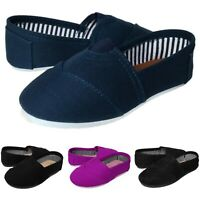 Baby Kids Round Toe Canvas Flat Slipper Shoes Black Navy Purple Toddler to Youth