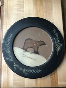 Primitive Country Folk Art Donna White Decorative Winter Plate Bear with Snow