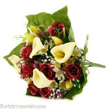 Soie artificielle fleurs mélangées bouquet Calla Lys Roses 40cm Bordeaux/Cerise