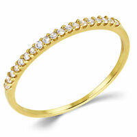 Round Cut Cubic Zirconia Stackable Anniversary Ring Band Solid 14K Yellow Gold