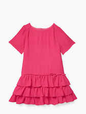 NEW Kate Spade Tiered Dress size 8Y Girls Pink Ruffle Bow Party Short Sleeve Kid