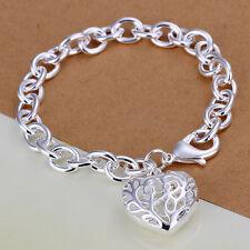 925 Stamped Sterling Silver Filled SF Filigree Heart Pendant Bracelet BL-A238