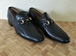 $650. authentic GUCCI Italy MENS SHOES Navy Blue LEATHER Loafers 12.5 US