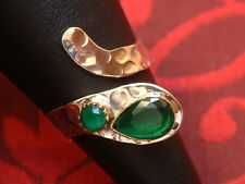 Schlangen Ring - mit Smaragd - Sterling Silber - 925 - Tropfen & Rundschliff TOP