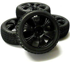180024 1/8 Scale Off Road Buggy RC Wheels and Block Tread Tyres 6 Spoke Black x4