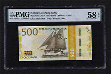 2018 Norway Norges Bank 500 Kroner Pick#56a PMG 58 EPQ Choice About UNC