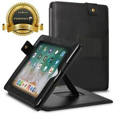 Fosmon Black Leather Folio Case Cover w/ Stand & Strap for Apple iPad 2 3 4 Gen