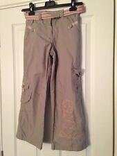 BNWT NEXT Girls Grey Pink Belted Lined Boarder Combat Trousers 5 Years 110cms