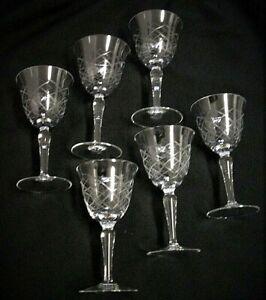 6 Weingläser - Art Deco - geschliffen - 15 cm hoch
