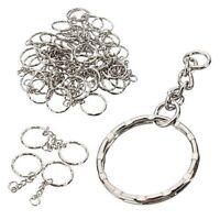 10Pcs Blanks Keyring Silver Tone 4 Link Chain Split Rings 25mm Holder Key Chains