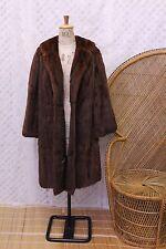 Vintage Real Mink brown fur 50s 60s war time big collar coat winter jacket M L