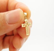10k Yellow Gold Cross Charm Pendant Women's Children's Gold Crucifix