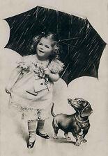Vintage Dachshund Dog & Morton Salt Girl Cute Large New Blank Note Cards