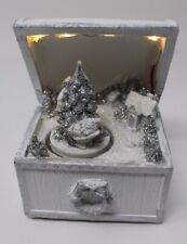 LED Carousel Revolving Christmas Tree Snowy Glitter Winter Scene Chest 13cm Tall