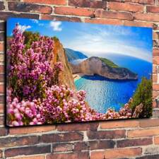 "Scenic Summer Beach Scene Printed Box Canvas Picture A1.30""x20"" 30mm Deep Frame"