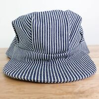 VTG ENGINEER BLUE WHITE STRIPED CONDUCTOR TRAIN RAILROAD USA MADE HAT CAP