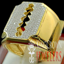 Mens Real Genuine Diamond Razor Blade Pinky Ring Band 10K Yellow Gold Finish