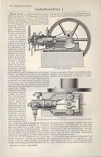 Lithografie 1905: Gas-Kraft-Maschinen I/II. Viertakt-Gas-Motor Viertakt Zwilling