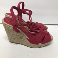 American Eagle Women's SZ 10 Pink Slingback Wedge Espadrille Sandals Shoes