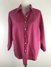 L L Bean Womens Button Up Shirt Pink Linen Casual 3/4 Sleeve Solid size Large