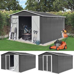 Metall Gerätehaus Geräteschuppen Garten Haus Schuppen Gartenhaus 15 m³ grau XXXL