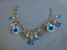 *Hand Crafted Silver Plated FROZEN Enamel Charms Bracelet - Queen Elsa
