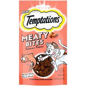 NEW! Temptations Meaty Bites Salmon Flavor  (1-1.5oz) 42.5g