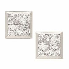 14K Solid White Gold 8MM Square Cut Bezel Set Cubic Zircon Studs ER-PEW8