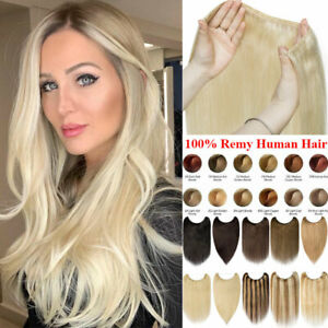 UK Invisible Wire In 100% Remy Human Hair Extensions Onepiece Hidden Headband GB