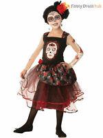Girls Day of the Dead Costume Mexican Spanish Senorita Halloween Fancy Dress