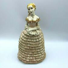 Vintage Porcelain Blonde Woman Lady Figurine Pink Ruffled Dress