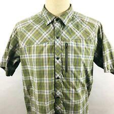 REI Mens Large Metal Snap Button Green Plaid Hiking Shirt