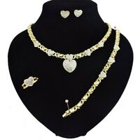 #18 Xo Set 18k Layered Real Gold Filled Necklace Bracelet Earring (RING SIZE 9)