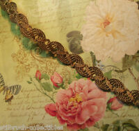 "Antique vtg heavy weighty gold bronze metal braid lace trim lampshade 1/2"" c1900"