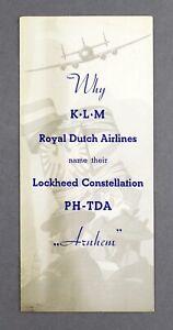 KLM ROYAL DUTCH AIRLINES LOCKHEED CONSTELLATION PH-TDA NAMING AIRLINE BROCHURE