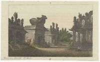Early 19th Century Copper Plate Engraving of Ancient Temples in India